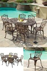 Outdoor Patio Furniture Sets Clearance Dining 7Pc Cast Aluminum Table Chairs NEW