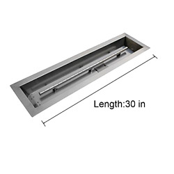 Stanbroil Stainless Steel Linear Trough Drop-In Fire Pit Pan and Burner 30 by 6-