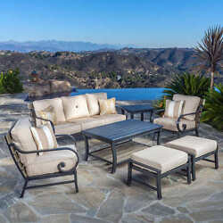 Patio Furniture Set 7 Piece Outdoor Aluminum Chairs Sofa Table Ottoman Pair New