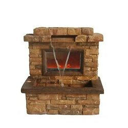 Large Outdoor Water Fountain Garden Electric Patio Fireplace Decor Stone Set
