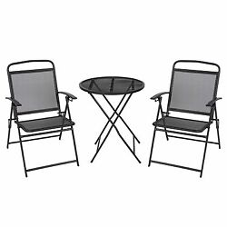 Patio Bistro Set 3 Piece Outdoor Wrought Iron Black Finish Balcony Foldable Home