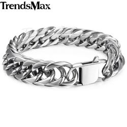 15mm Curb Cuban Rombo Link Mens 316L Stainless Steel Chain Bracelet Silver
