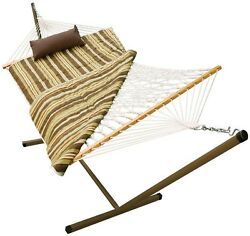 11 ft. Rope Patio Outdoor Swing HAMMOCK Bed wStand Pad + PillowFree Shipping