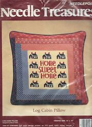 Needle Treasures Log Cabin Pillow Needlepoint Kit - Says Home Sweet Home Cheap!