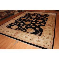 12 X 15 Black Hand Knotted Oushak Design Pure Wool Traditional Persian Area Rug
