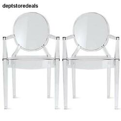 Set of Two 2 Clear Modern Ghost Chair Armchair Polycarbonate Plastic Crystal