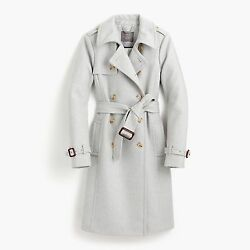 NEW J.Crew Icon Trench Coat In Italian Wool Cashmere Heather Silver 2