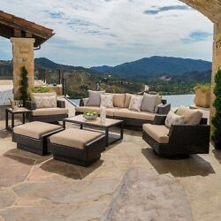 Patio Furniture Set 8 Piece Outdoor Lounge Club Chairs Side Coffee Table Ottoman
