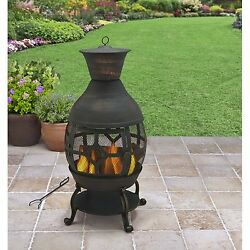 Modern Outdoor Fireplace Portable Wood Burning Chiminea Cast Iron Fire Pit Yard