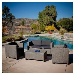 4-Piece Outdoor Wicker Resin Metal Frame Patio Furniture Seating Set w Cushions