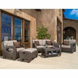 Patio Furniture Set 6 Piece Outdoor Wicker Club Chairs Loveseat Table Ottoman