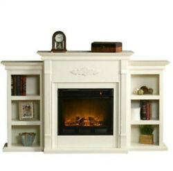 Electric Fireplace TV Stand Heater Media Entertainment Center Wood Mantle Shelf