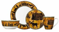 Rustic Dinnerware Set Cabin Wildlife Lodge Wilderness Nature Casual Everyday