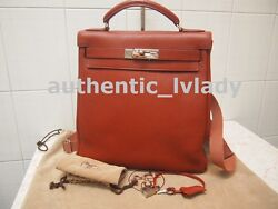 Authentic Hermes Togo Leather Red color backpack SHW Backpack Bag -EXT-KM3A