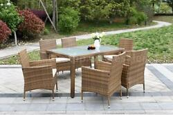 7PCS Rattan Patio Dining Table Set Garden Furniture Coffee Cushions High-quality