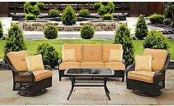 4 Piece Sofa Patio Set Dark Wicker Synthetic Resin Outdoor Living Furniture Tan