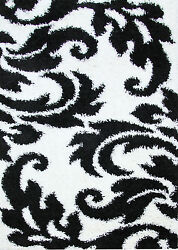 OHAR FLORAL DESIGN BLACK WHITE NON-SHED SHAGGY FLOOR RUG 80x150cm **NEW**