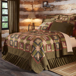 5PC TEA CABIN CALIFORNIA KING BED QUILT By VHC BRANDSPRIMITIVE COUNTRY BEDDING