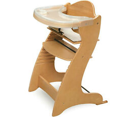Wooden High Chair Baby Toddlers Natural Modern Dining Furniture Plastic Tray NEW