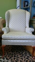 Pair 2 Connecticut House Queen Anne Style Wing Back Arm Chair Pineapple Pattern