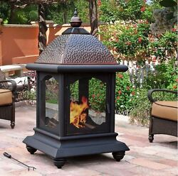 Chiminea Outdoor Fireplace Wood Burning Fire Pit Patio Steel Grate Firepit New