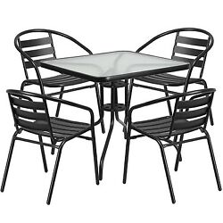 5 PC Outdoor Patio Bistro Set Garden Furniture Metal Glass Table With 4 Chairs