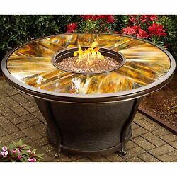 Premium Sunlight Fiberglass Round Gas Fire Pit Table Patio With Cover Furniture