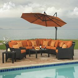 Sectional And Club Set With Umbrella Outoor Patio Furniture Orange 9-piece