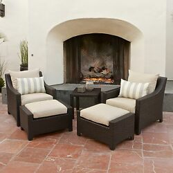 Club Chairs And Ottomans Patio Rattan Seat Cushion Furniture Set 5-piece