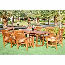 Patio Dining Set For 6 Outdoor Furniture Wood Rectangle Table Chairs Cushions