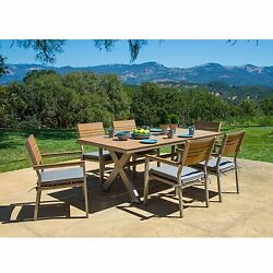 Outdoor Dining Set With Sunbrella Cushions Wood Chair and Table Patio 7-piece