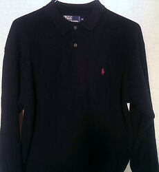 Polo Ralph Lauren Long Sleeve Lambs Wool Long Sleeve Sweater Navy XXL Used