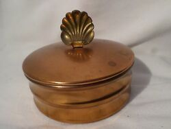 Vintage Chase Copper Art Deco Vanity Box Canister w Scallop Shell Accent Handle