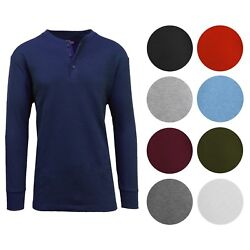 Men#x27;s Long Sleeve 3 Button Henley amp; Classic Waffle Knit Thermal Undershirt Tee $13.97