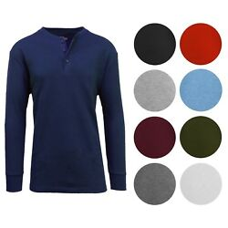 Men#x27;s Long Sleeve 3 Button Henley Waffle Knit Thermal Undershirt Tee T Shirt