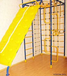 5 pillars with Climbing wall - Kid's Indoor Home Gym Playground Set
