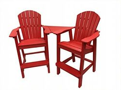 Recycled Poly Resin Balcony Chair Settee Durable Adirondack Patio Furniture Red