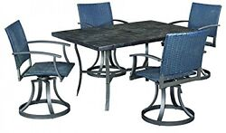 Home Styles Stone Veneer Outdoor 5 Piece Dining Table Set and Four Swivel Chairs