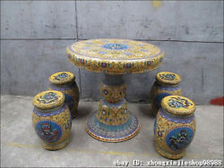 Huge China Royal Copper Cloisonne Enamel Dragon Round Table stool Chairs Set