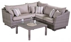 4-Piece Cannes Sectional And Conversation Table Patio Furniture Set Slate Gray