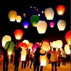 10 Pcs Multi Color Chinese Paper Sky Flying Wishing Lantern Lamp Candle Wish New