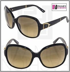 GUCCI GG3638 BUCKLE Leather Sunglasses Black Gold Brown Gradient Butterfly 3638