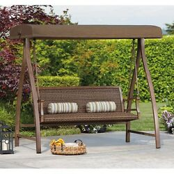 Patio Swing Canopy Wicker Rattan Patio Furniture Outdoor Bench Backyard Glider