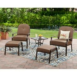 5 Piece Patio Bistro Set Garden Side Table 2 Ottomans 2 Outdoor Brown Armchairs