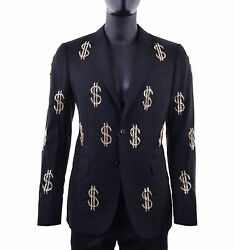 MOSCHINO COUTURE RUNWAY Wool Blazer Jacket with Dollar Sings Metal Black 05405