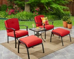 5 Piece Patio Bistro Set Garden 2 Chairs 2 Ottomans Side Table & 4 Red Cushions