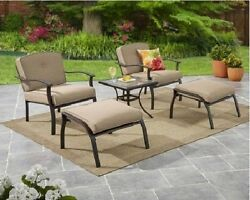 5 Piece Patio Bistro Set Garden 2 Chairs 2 Ottomans Side Table & 4 Tan Cushions