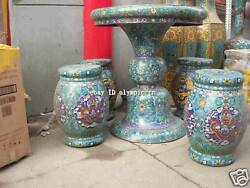 30 Inch Chinese palace copper cloisonne carved finery  table And 4 stool statues
