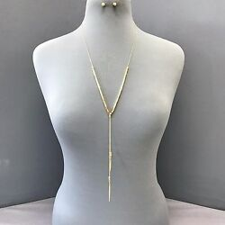 Bohemian Long Gold Finish Square Shape Design Pendant Necklace with Earrings $10.49