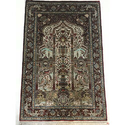 1000 Lines 1.1'x1.6' Handmade Persian Silk Tapestry Art Collection Rug LS017